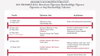 2021 Erasmus Takvimi